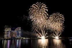 Spectacular Fireworks show in Dubai.