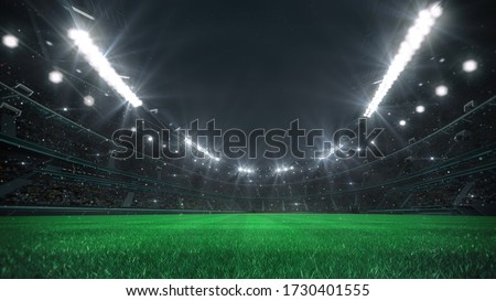 Spectacular football stadium full of spectators expecting an evening match on the grass field. View from the player level. Sport category 3D illustration.