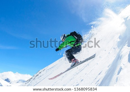 spectacular freeriding at the steep slopes of kitzsteinhorn  #1368095834