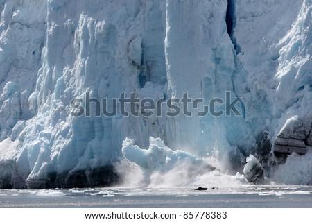 spectacular glacier calving