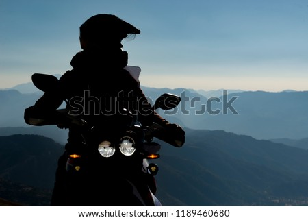 Spectacular motorcycle travel and tranquil landscapes #1189460680