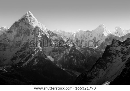 Spectacular mountain scenery on the Mount Everest Base Camp trek through the Himalaya, Nepal in stunning black and white