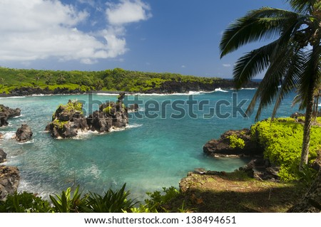 Spectacular ocean view on the Road to Hana, Maui, Hawaii, USA