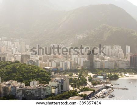 Spectacular panorama and aerial city view of Rio de Janeiro, Brazil #389357434