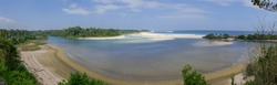 Spectacular panorama on the Indian Ocean from traditional Ratenggaro village on Sumba island, East Nusa Tenggara, Indonesia