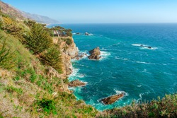 Spectacular panoramic landscape of the west coast of California with views of the Pacific Ocean and the cliffs . Coast along the Pacific Coast Highway