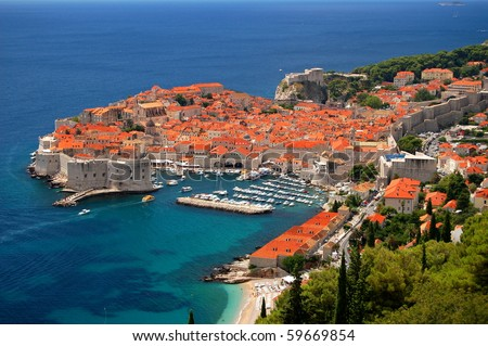 Spectacular picturesque gorgeous view on the old town of Dubrovnik, Croatia - stock photo