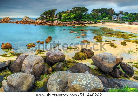 Shutterstock Spectacular rocky beach with pink granite stones and wonderful green gardens on the coast,Ploumanach,Perros-Guirec,Pink Granite Coast,Brittany,France,Europe