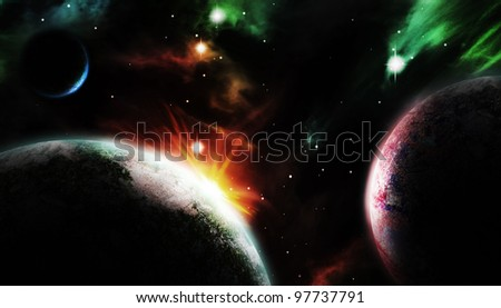 spectacular scene of three planets on the cosmos as background.