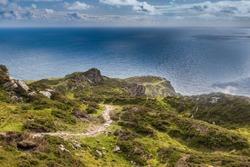Spectacular scenic landscape of famous Slieve League, Sliabh Liag, Slieve Liag, cliffs, Hiking root and wild Atlantic Ocean. Wild Atlantic Way route and a Hiking destination, County Donegal, Ireland