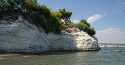 Spectacular sea rock formation in the Governor's beach, it is located between Limassol and Larnaca. Pentakomo,  Cyprus