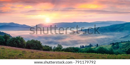 Spectacular summer sunrise in Carpathian mountains. Foggy morning panorama of green mountain valley, Transcarpathian, Rika village location, Ukraine, Europe. Beauty of nature concept background. Stock photo ©