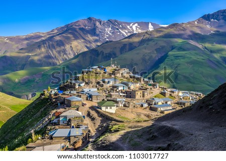 Spectacular summer view of the mountain village of Xinaliq (also known as Khinalug) located in the High Caucasus - highlight of Azerbaijan, 2018