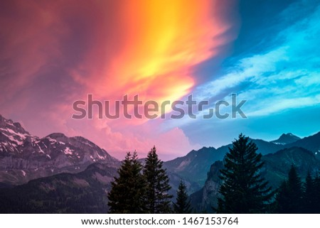 Spectacular sundown of the Dents du Midi mountain range in Switzerland #1467153764