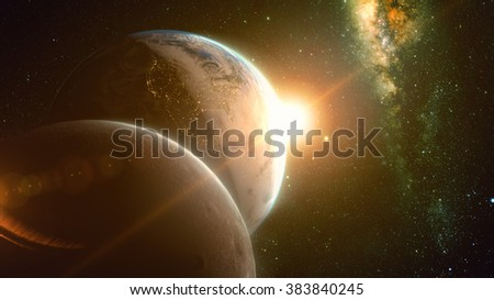 spectacular sunrise view over Planet Earth and moon with milkyway in background. Elements of this image furnished by NASA #383840245