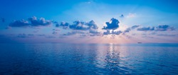 Spectacular sunset over the ocean. Maldives