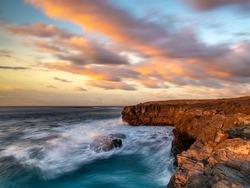 Spectacular sunset over the rocky cliffs of Fuerteventura