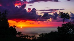 Spectacular sunset view in warm red, orange and purple tones. Beautiful colourful landscape scenery from highlander viewpoint of a setting sun in the background and silhouette of jungle trees in front
