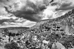 Spectacular teeth-like rock formation and old christian caves in Zelve Valley in Cappadocia, Turkey