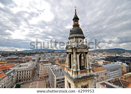 Spectacular view of Budapest from St. Istvan Basilica - Hungary