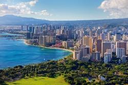 Spectacular view of Honolulu city, Oahu, Hawaii