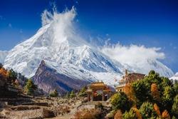 Spectacular view of Manaslu mountain on Around Manaslu trail Himalayas, Nepal