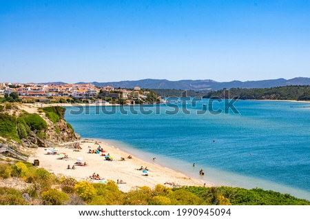Spectacular view of the town, bay and mouth of the river Mira at Vila Nova de Milfontes on the west coast of Portugal Сток-фото ©