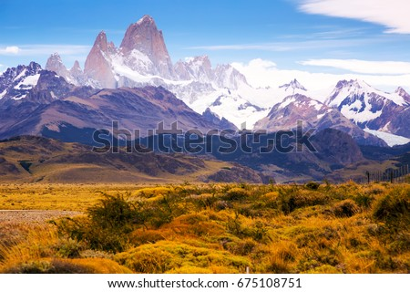 Spectacular view on Fitz Roy Mount of the Southern Patagonian Ice Field in Argentina  - Shutterstock ID 675108751