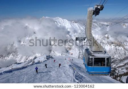 Spectacular view to the mountains and blue ski tram at Snowbird ski resort in Utah Stock fotó ©