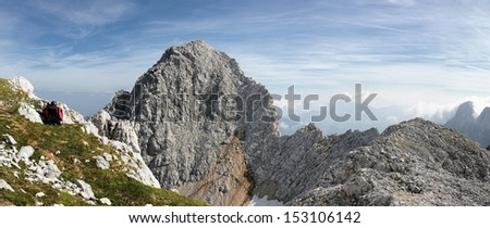 Spectacular view towards Spik, which is a 2472 m high mountain in the group of Martuljek mountains in Julian Alps in Slovenia, Europe. View from Lipnica peak. Picture was taken in late August, 2013. Stock fotó ©