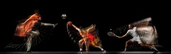 Spectator sports. Collage of images of proffesional soccer football, basketball and tennis player in motion isolated on dark background with stroboscoper effect. Concept of sport, action, motion, team