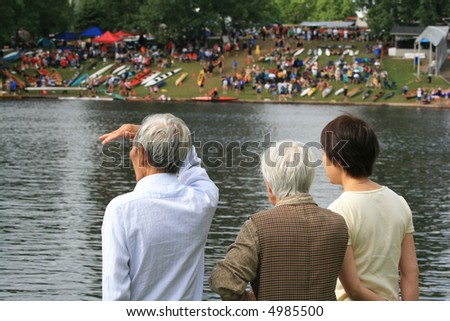 Spectators at a national kayaking competition. Ottawa, Ontario. Canada. - stock photo