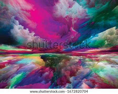 Spectral Mountains. Escape to Reality series. Background composition of  surreal sunset sunrise colors and textures on the subject of landscape painting, imagination, creativity and art
