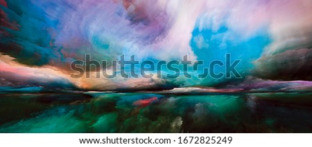 Spectral Mountains. Escape to Reality series. Composition of surreal sunset sunrise colors and textures for subject of landscape painting, imagination, creativity and art Stockfoto ©
