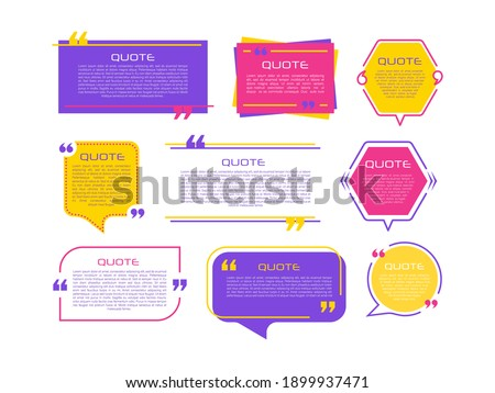 Speech  balloon with quotation marks, think, speak, talk, commas. Bubble comment, message borders, boxes, banners. Quote frames blank templates set on white background. Remark.