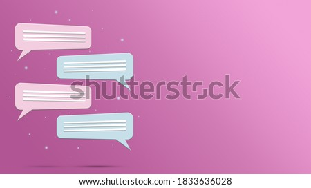 Speech bubble icon of two people 3d on pink background. Chat dialogue. Social network correspondence. Social media, icon. 3D rendering