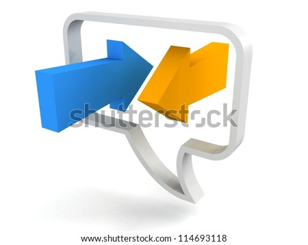 speech bubble icon with blue and orange arrows