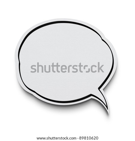 Speech bubble on white with clipping path