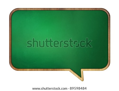 Speech bubble school desk with wooden frame. Isolated on white.