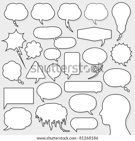 speech bubble set with male head silhouette
