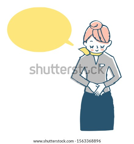 Speech bubble with a woman bowing