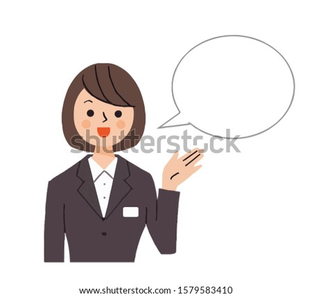 Speech bubble with business woman explaining with gesture