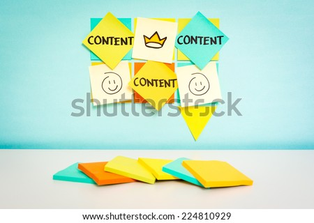 Speech bubble with content word. Business concept. Sketch notes with blue background