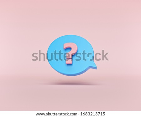 speech bubble with question mark icon minimal style. 3d rendering