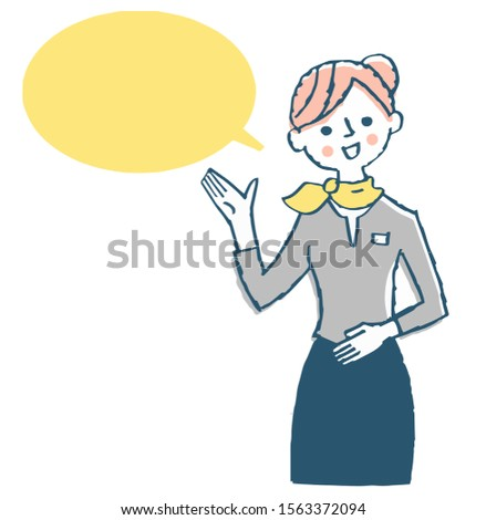 Speech bubble with woman explaining with gesture