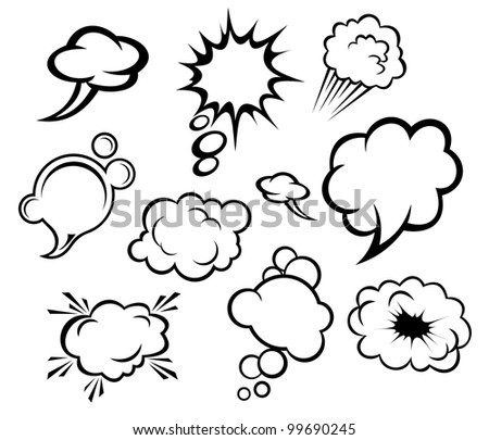 Speech bubbles and clouds set in cartoon style. Vector version also available in gallery
