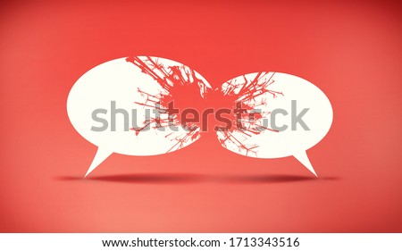 Speech bubbles icon symbold crashing . Social opinion problems and diplomacy debating. Aggresive dialogue . Controversy dialogue concept .  This is a 3d render illustration Foto stock ©