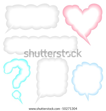 Speech bubbles or thought clouds isolated on white background illustration