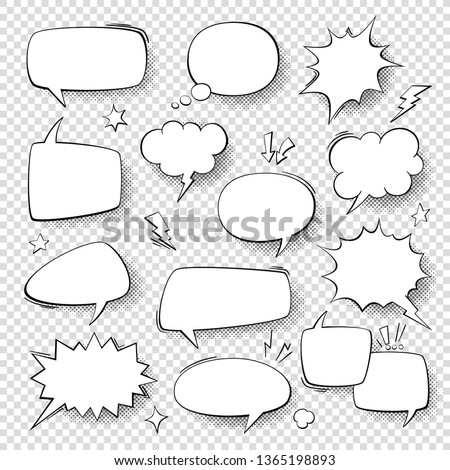 Speech bubbles. Vintage word bubbles, retro bubbly comic shapes. Thinking and speaking clouds with halftone set
