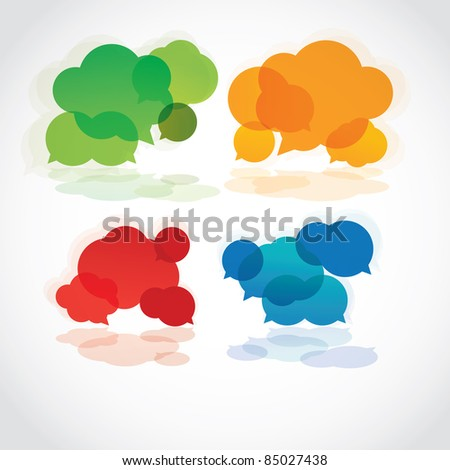 Speech cloud collection, raster - stock photo